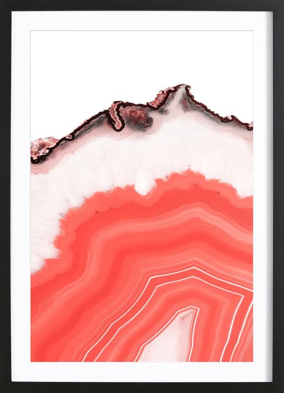 Living Coral Agate -Bild mit Holzrahmen