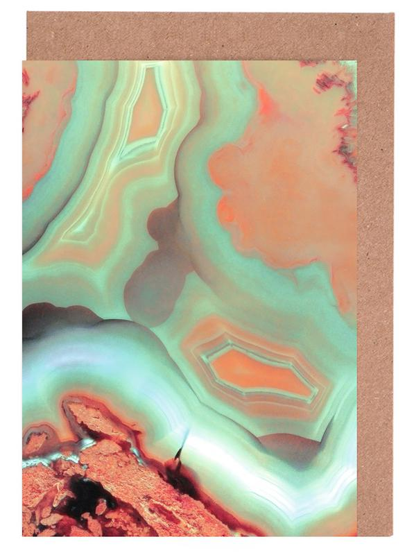 Living Coral Blue Agate Greeting Card Set