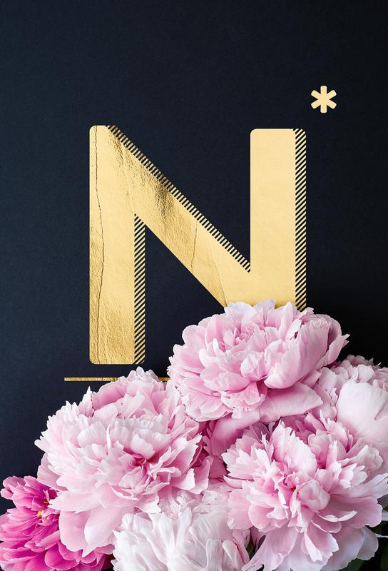 Flower Alphabet N Alu Dibond Druck | Dekoration > Bilder und Rahmen > Poster | Mehrfarbig | Aluminium