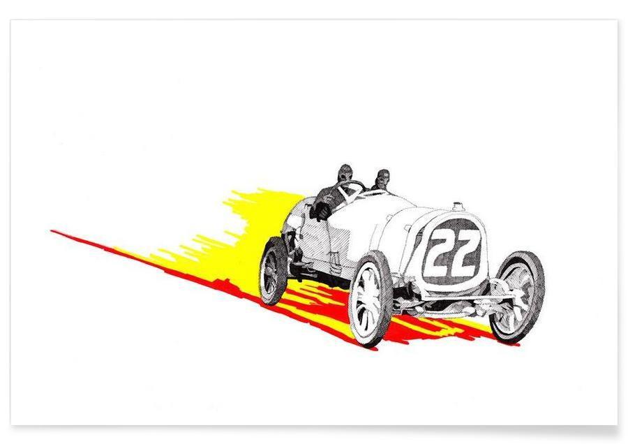 Classic Racing Car Pencil Drawing Poster