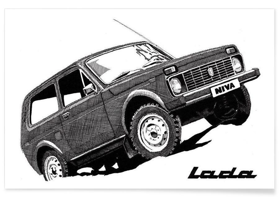 Lada Niva Pencil Drawing Poster