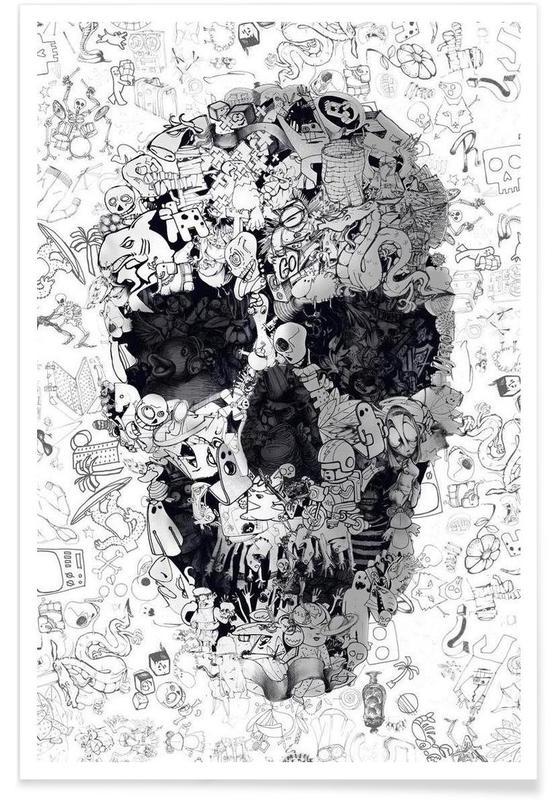 Doodle Skull BW poster