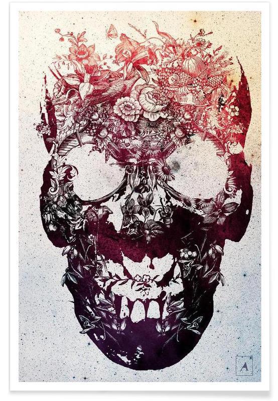Floral skull affiche