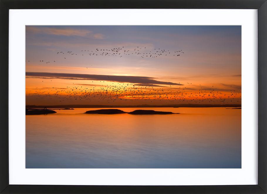 By Sunset affiche sous cadre en bois
