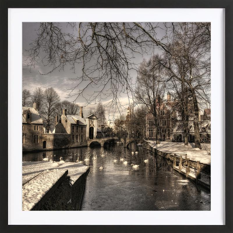 Bruges in Christmas Dress - Yvette Depaepe Framed Print