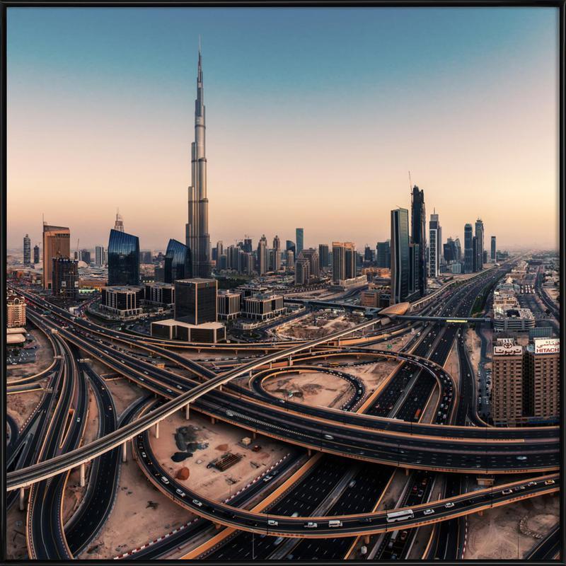 Dubai Skyline Panorama - Jean Claude Castor Framed Poster
