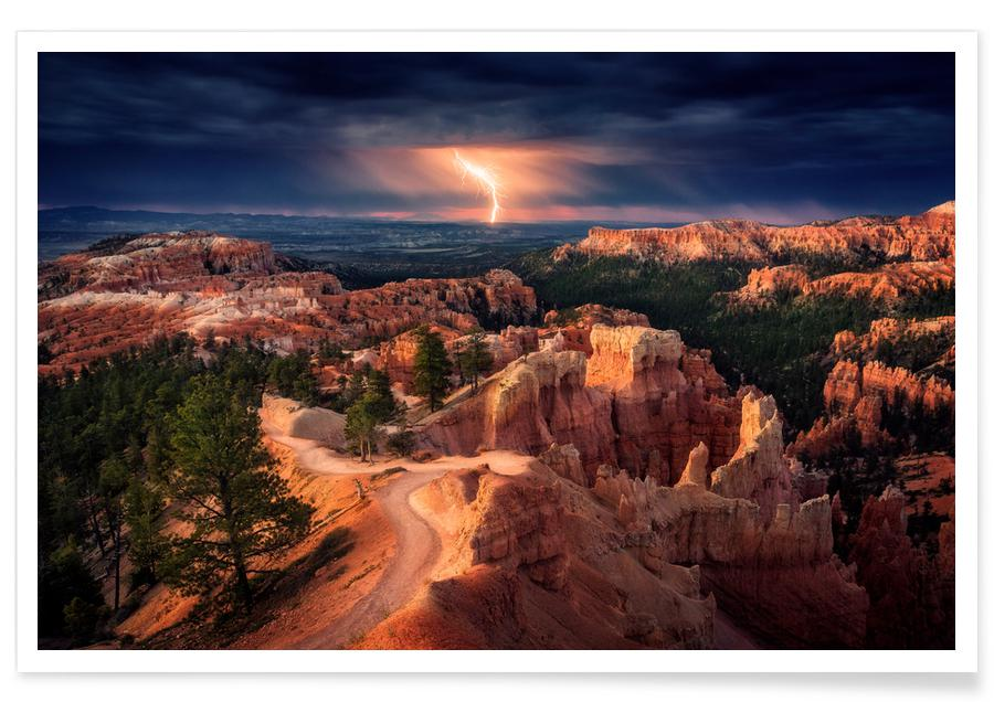 Lightning over Bryce Canyon - Stefan Mitterwallner affiche