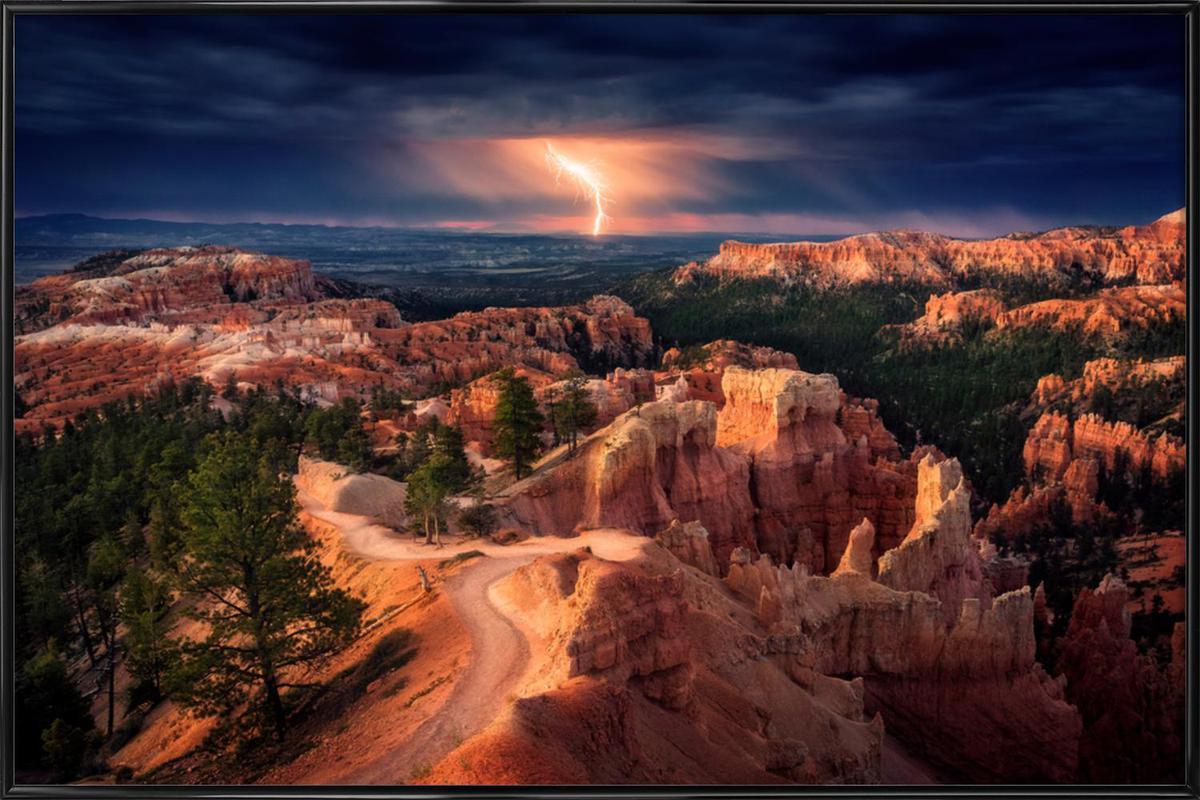 Lightning over Bryce Canyon - Stefan Mitterwallner Framed Poster