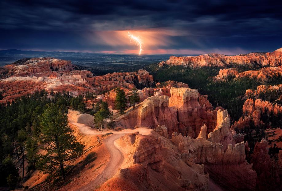 Lightning over Bryce Canyon - Stefan Mitterwallner Acrylic Print