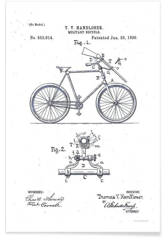 Rifle Carrier for Bicycle, Patent 1896 Poster