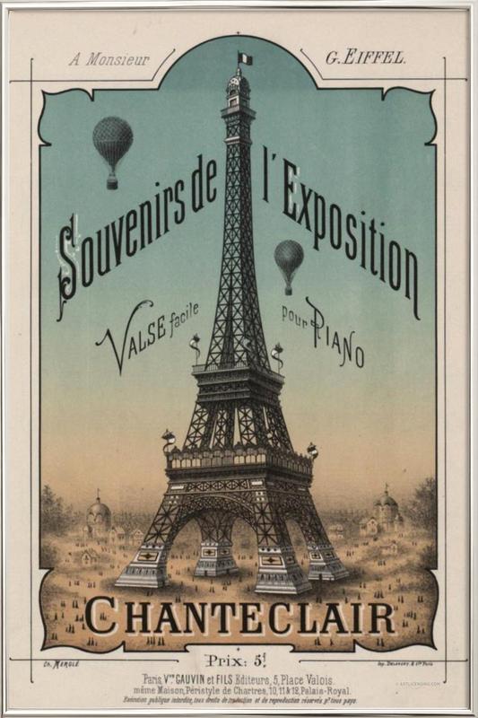 Eiffel Exposition Poster in Aluminium Frame