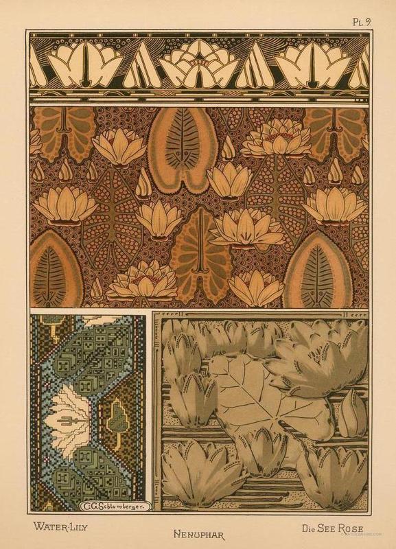 Eugene Grasset Water Lily 09 Leinwandbild | Dekoration > Bilder und Rahmen > Bilder | Mehrfarbig | Holz