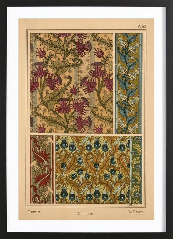 Eugene Grasset - Thistle 60 -Bild mit Holzrahmen