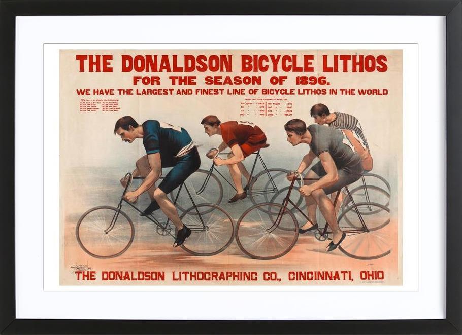 Donaldson Bicycle affiche sous cadre en bois