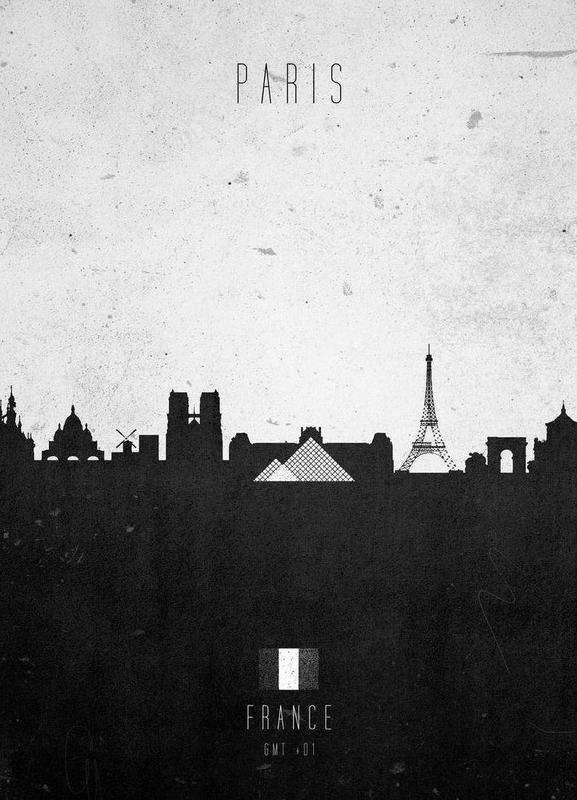 Paris Contemporary Cityscape Leinwandbild | Dekoration > Bilder und Rahmen > Bilder | Mehrfarbig | Holz