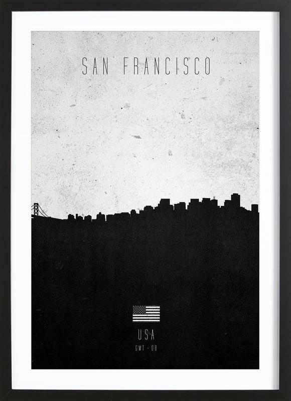 San Francisco Contemporary Cityscape -Bild mit Holzrahmen