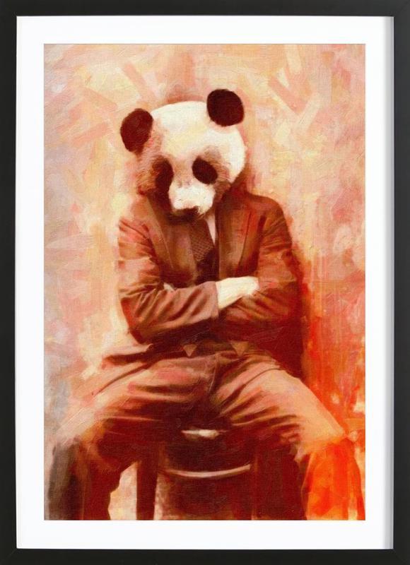 Sad Panda -Bild mit Holzrahmen