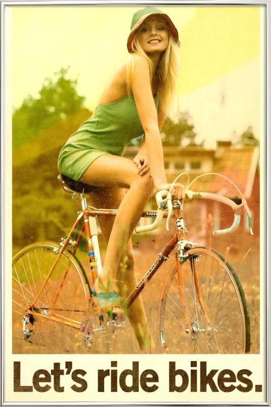 Let's Ride Bikes poster in aluminium lijst