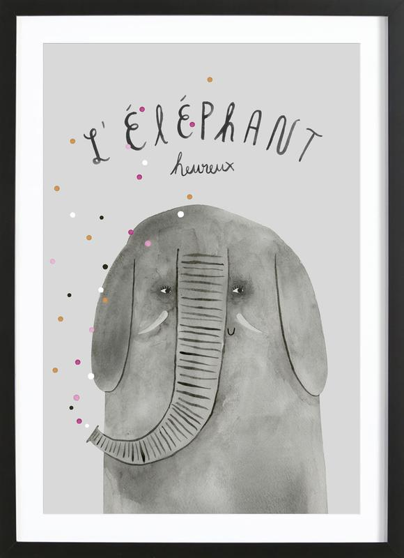 French Animals Elefant affiche sous cadre en bois