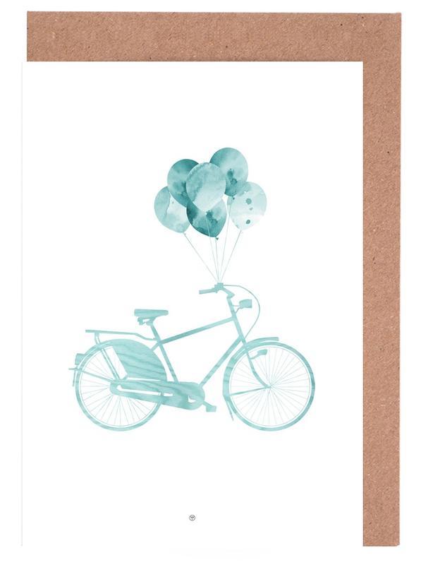 Bike & Balloons | Blue -Grußkarten-Set