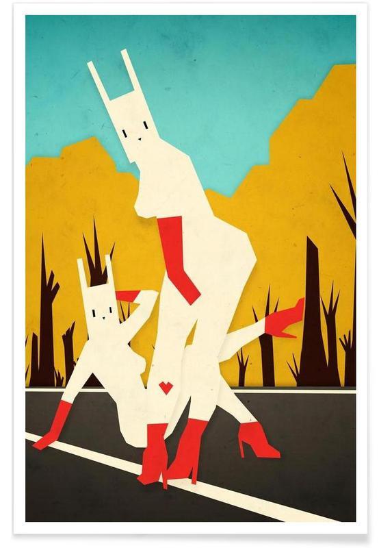 Roadside bunnies Poster
