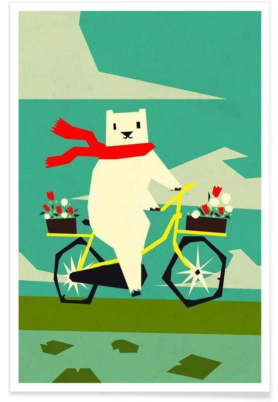 Yeti riding a bike affiche