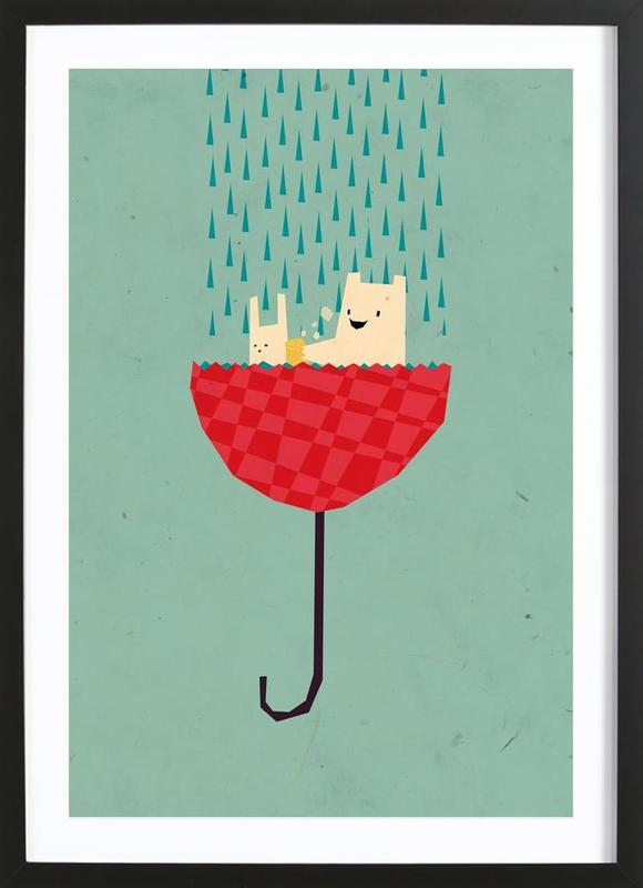 Umbrella bath time! -Bild mit Holzrahmen