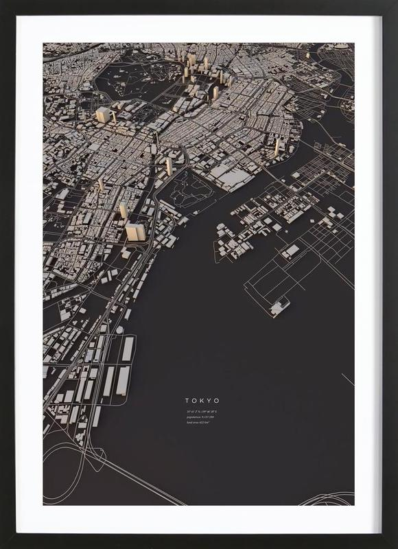 Tokyo City Map Framed Print