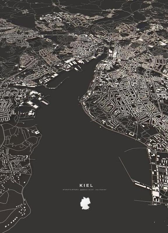 Kiel City Map Leinwandbild