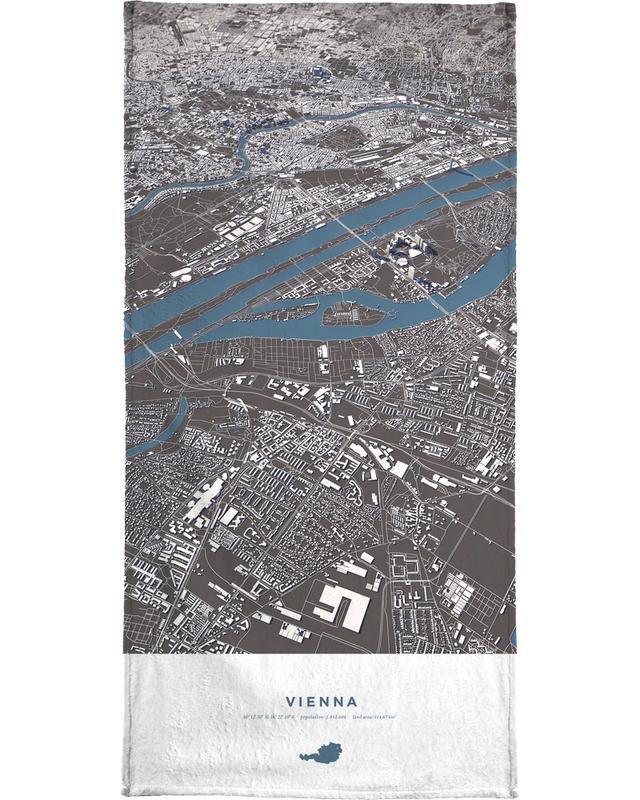 Vienna City Map Bath Towel