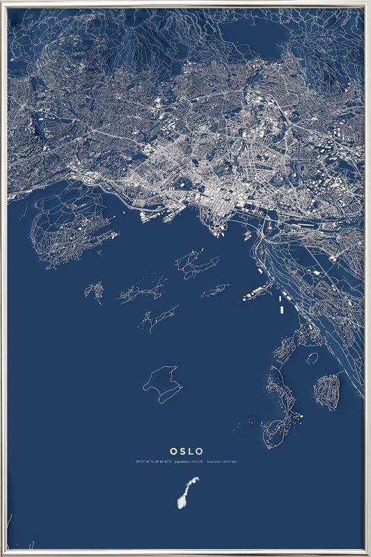 Oslo Color City Map Poster in Aluminium Frame