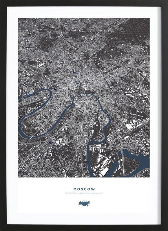 Moskau City Map -Bild mit Holzrahmen