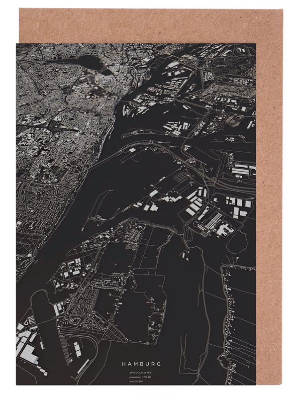 Hamburg City Map Grußkartenset