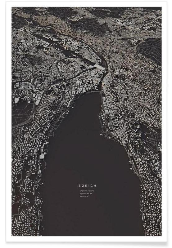 Zürich-3D-Stadtkarte -Poster