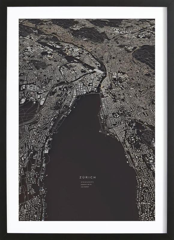 Zürich City Map -Bild mit Holzrahmen