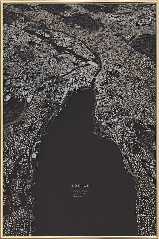 Zürich City Map Poster in Aluminium Frame