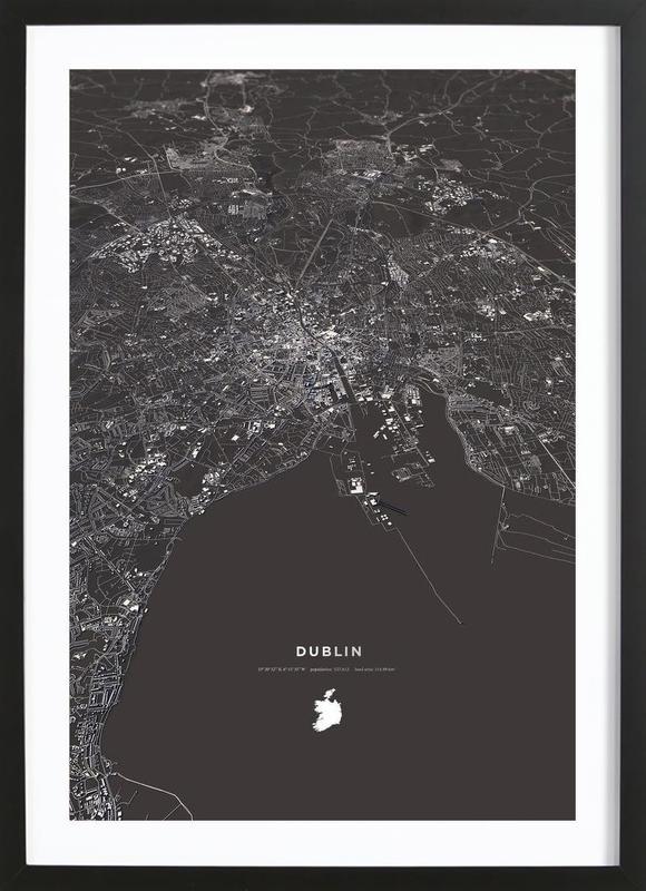 Dublin City Map -Bild mit Holzrahmen