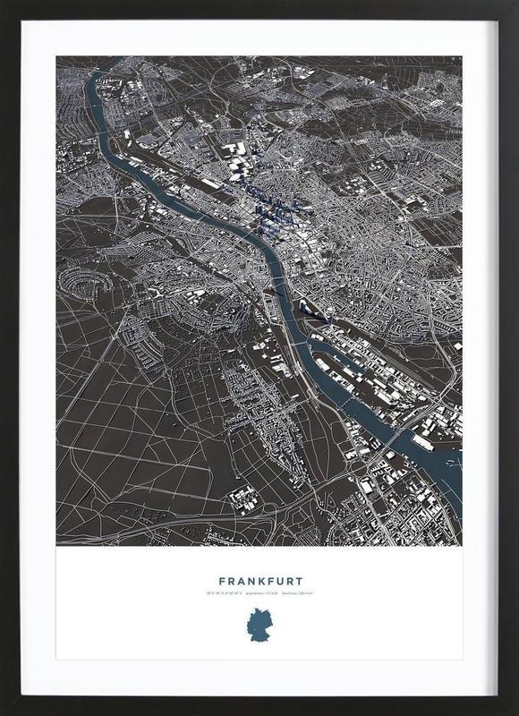 Frankfurt City Map -Bild mit Holzrahmen