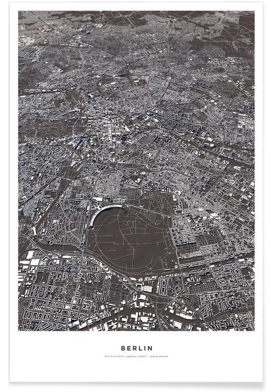 Berlijn - 3-D kaart poster