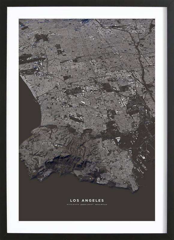 Los Angeles affiche sous cadre en bois