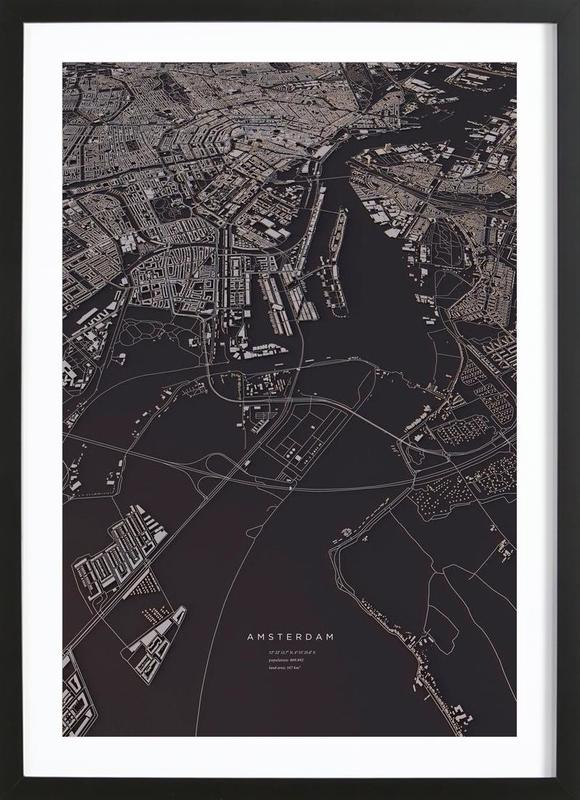 Amsterdam City Map -Bild mit Holzrahmen