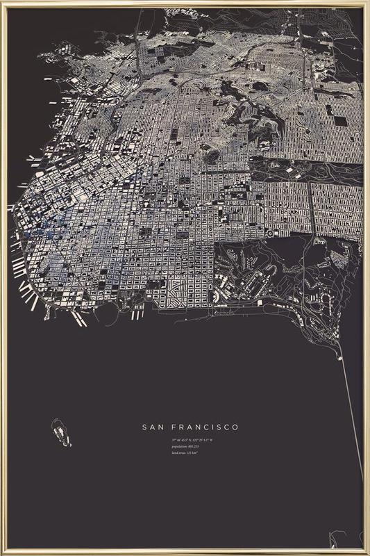 San Francisco City Map Poster im Alurahmen | Dekoration > Bilder und Rahmen > Poster | Mehrfarbig