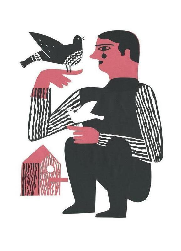 Man With Birds Canvas Print