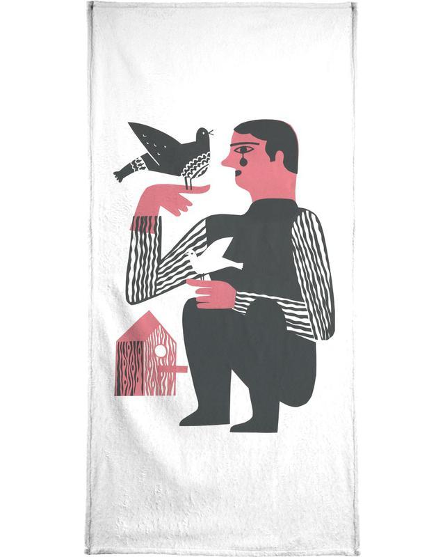 Man With Birds Handtuch
