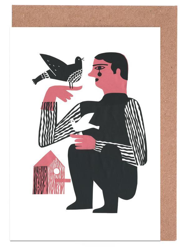 Man With Birds Grußkartenset
