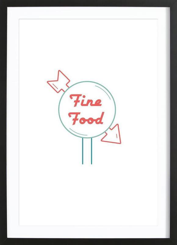 Fine Food affiche sous cadre en bois