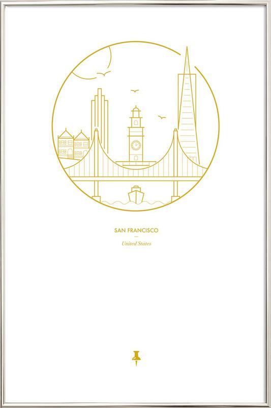 San Francisco -Poster im Alurahmen