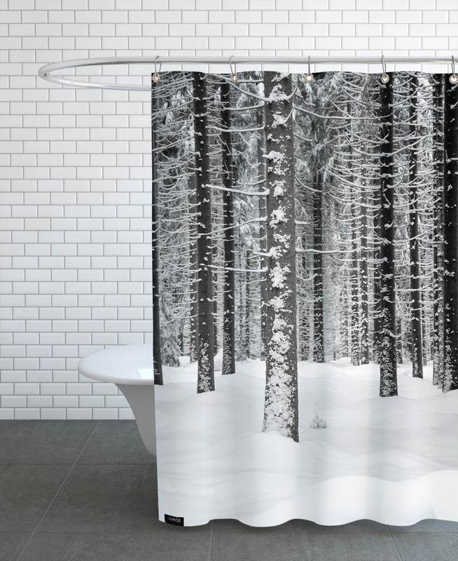 Deep Dark White Forest Shower Curtain