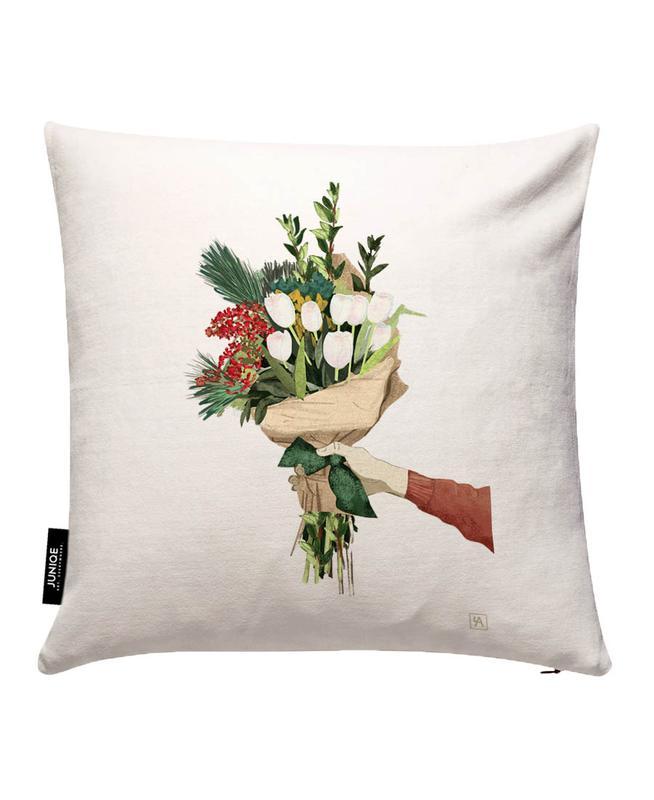 Flowers JUNIQE Kissenhülle | Heimtextilien > Bettwäsche und Laken > Kopfkissenbezüge | Mehrfarbig | Baumwollstoff