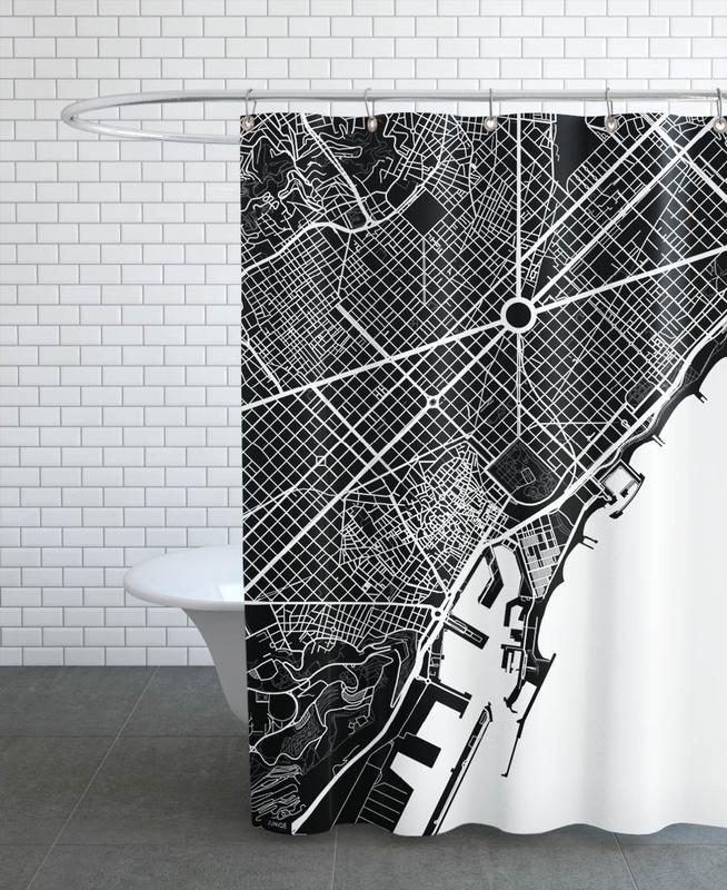 Barcelona White Shower Curtain